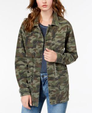 Birdie Stud Detail Camo Cotton Jacket, Olive