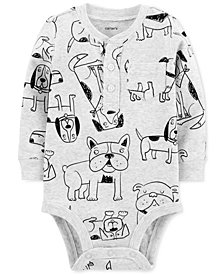 Carter's Baby Boys Dog-Print Cotton Henley Bodysuit