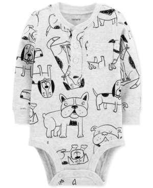 Carters Baby Boys DogPrint Cotton Henley Bodysuit