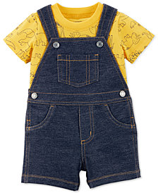 Carter's Baby Boys 2-Pc. Cotton Dino-Print T-Shirt & Denim Short Overall Set
