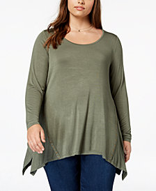 Belle by Belldini Plus Size Embellished Handkerchief-Hem Tunic