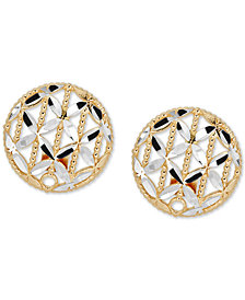 Two-Tone Openwork Textured Stud Earrings in 14k Gold & White Gold