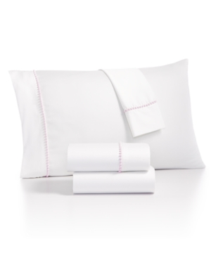 Whim by Martha Stewart Collection Solid Pom 4Pc California King Sheet Set Created for Macys Bedding