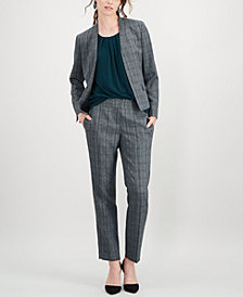 Kasper Plaid Stand-Collar Flyaway Jacket & Straight-Leg Pants