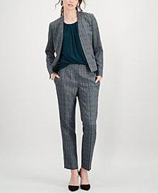 Kasper Plaid Stand-Collar Flyaway Jacket & Straight-Leg Pants