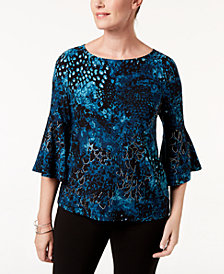 Kasper Printed Bell-Sleeve Top