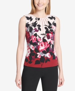 FLORAL-PRINT SHELL, REGULAR & PETITE SIZES