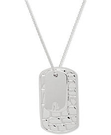 "Lauren Ralph Lauren Silver-Tone Croc-Embossed Dog Tag 36"" Pendant Necklace"