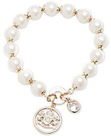 Lauren Ralph Lauren Gold-Tone Imitation Pearl, Crystal & Logo Crest Stretch Bracelet