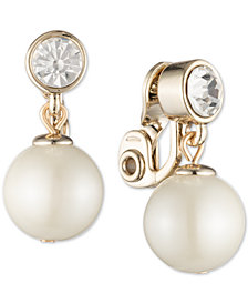 Lauren Ralph Lauren Gold-Tone Imitation Pearl and Crystal Clip-On Earrings