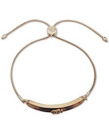 Lauren Ralph Lauren Gold-Tone & Tortoise-Look Bar Logo Slider Bracelet