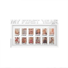 "My First Year Collage Baby Picture Frame with 8 Openings by Lavish Home, White, 11"" x 18.6"" x 0.75"""