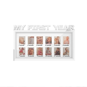 My First Year Collage Baby Picture Frame with 8 Openings by Lavish Home, White, 11