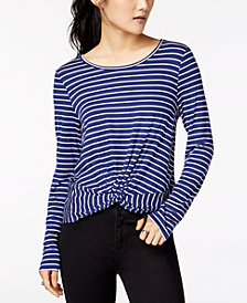 Hippie Rose Juniors' Striped Twist-Front T-Shirt