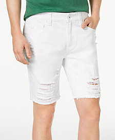 I.N.C. Men's Destructed White Denim Shorts, Created for Macy's