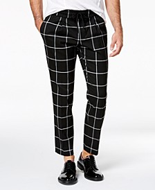 INC Men's Cropped Windowpane Pants, Created for Macy's