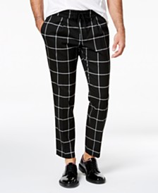 I.N.C. Men's Cropped Windowpane Pants, Created for Macy's