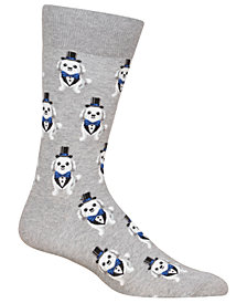Hot Sox Men's Tuxedo Dog Crew Socks