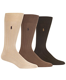 Polo Ralph Lauren Men's 3-Pk. Super-Soft Ribbed Dress Socks