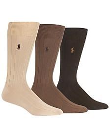 Polo Ralph Lauren Men's 3-Pk. Super-Soft Ribbed Dress Socks