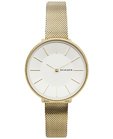 Skagen Women's Karolina Gold-Tone Stainless Steel Mesh Bracelet Watch 38mm
