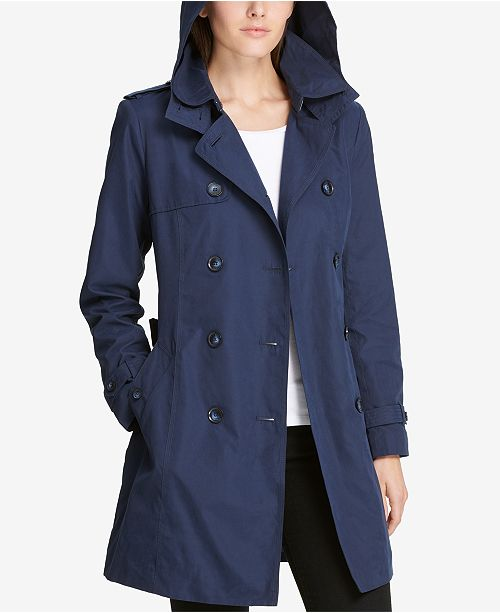 58bd1cdc3f0 DKNY Double-Breasted Trench Coat, Created for Macy's & Reviews ...