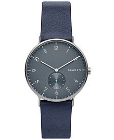 Skagen Men's Aaren Smoke Blue Leather Strap Watch 40mm