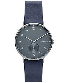 Skagen Men's Aaren Smoke Blue Leather Strap Watch 40mm