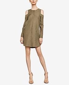 BCBGMAXAZRIA Cold-Shoulder Sueded Dress