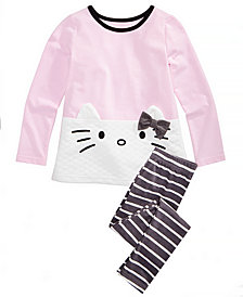 Hello Kitty Little Girls 2-Pc. Top & Striped Leggings Set