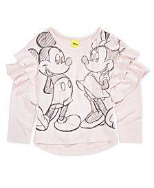 Disney Little Girls Graphic-Print Ruffle-Trim T-Shirt