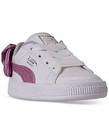 Puma Toddler Girls' Basket Bow Patent Casual Sneakers from Finish Line