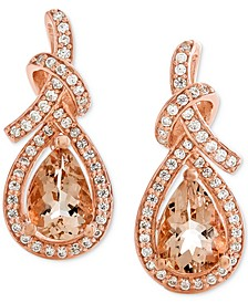 Morganite (1-1/8 ct. t.w.) & Diamond (1/4 ct. t.w.) Drop Earrings in 14k Rose Gold
