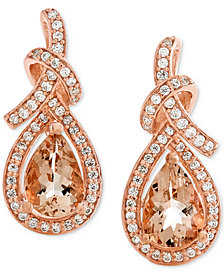 Morganite (1-1/8 ct. t.w.) & Diamond (1/4 ct. t.w.) Drop Earrings in 14k Rose Gold