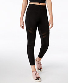 Material Girl Juniors' Mesh-Inset Leggings, Created for Macy's