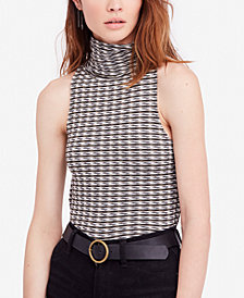 Free People Cotton Printed Turtleneck Top