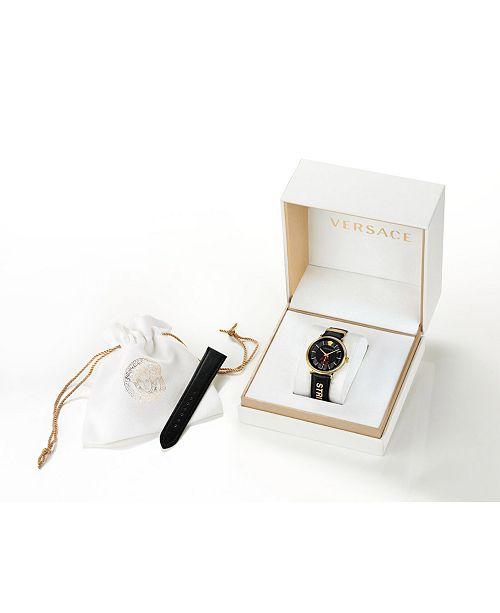 a1cb3bfe3c ... Versace Men s Swiss V-Circle Manifesto Edition Black Leather Strap  Watch 42mm ...