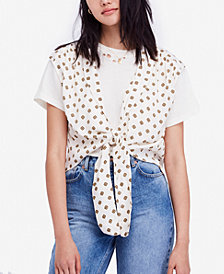 Free People Printed Tie-Front Top