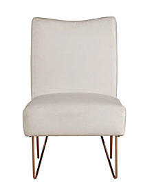 Velvet Hairpin Slipper Chair, White