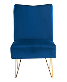 Velvet Hairpin Slipper Chair, Navy