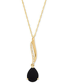 "Onyx (9 x 7mm) & Diamond Accent 18"" Pendant Necklace in 14k Gold"