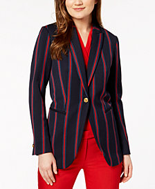 Anne Klein Striped One-Button Blazer