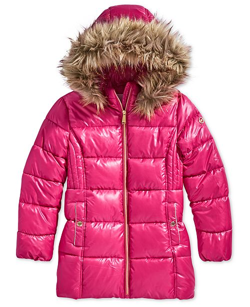 cce7871fdef4 Michael Kors Little Girls Hooded Puffer Stadium Coat with Faux-Fur ...