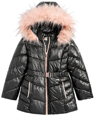 Michael Kors Big Girls Hooded Belted Stadium Jacket With