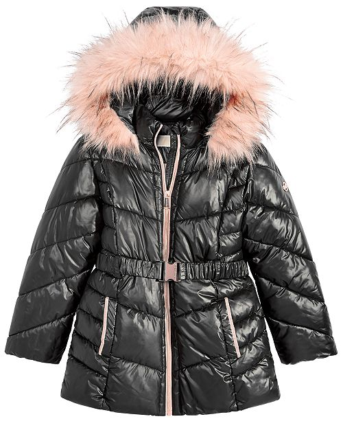 Michael Kors Big Girls Hooded Belted Stadium Jacket with Faux-Fur Trim