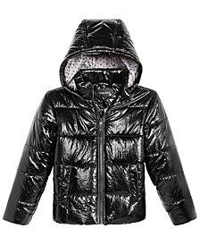 S. Rothschild Big Girls Hooded Metallic Puffer Jacket