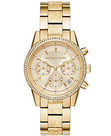 Michael Kors Women's Chronograph Ritz Gold-Tone Stainless Steel Bracelet Watch 37mm