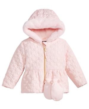 S Rothschild Little Girls Hooded Quilted Jacket with Mittens