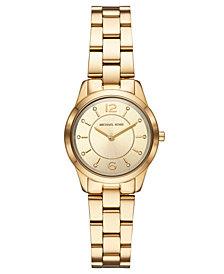 Michael Kors Women's Mini Runway Gold-Tone Stainless Steel Bracelet Watch 28mm