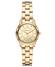 Michael Kors Women's Mini Runway Gold-Tone Stainless Steel Bracelet Watch 28mm